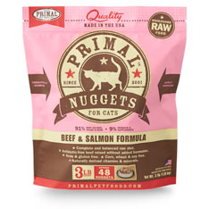 Primal Raw 1z Nuggets Beef & Salmon Formula Raw Frozen Cat Food 3lbs
