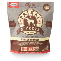 Primal Raw 1z Nuggets Venison Formula Raw Frozen Dog Food 3lbs