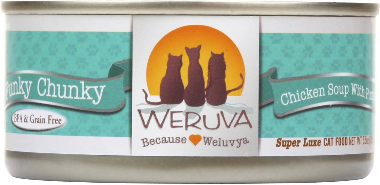 Weruva Funky Chunky Chicken Soup with Pumpkin Canned Cat Food 5.5z, 24