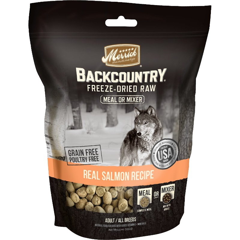 Merrick Backcountry Real Salmon Recipe Grain-Free Freeze-Dried Dog Food 5.5z