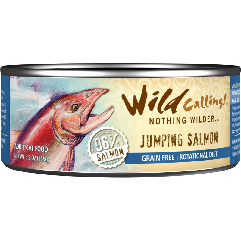 Wild Calling Jumping Salmon 96% Salmon Grain-Free  Canned Cat Food 5.5z, 24