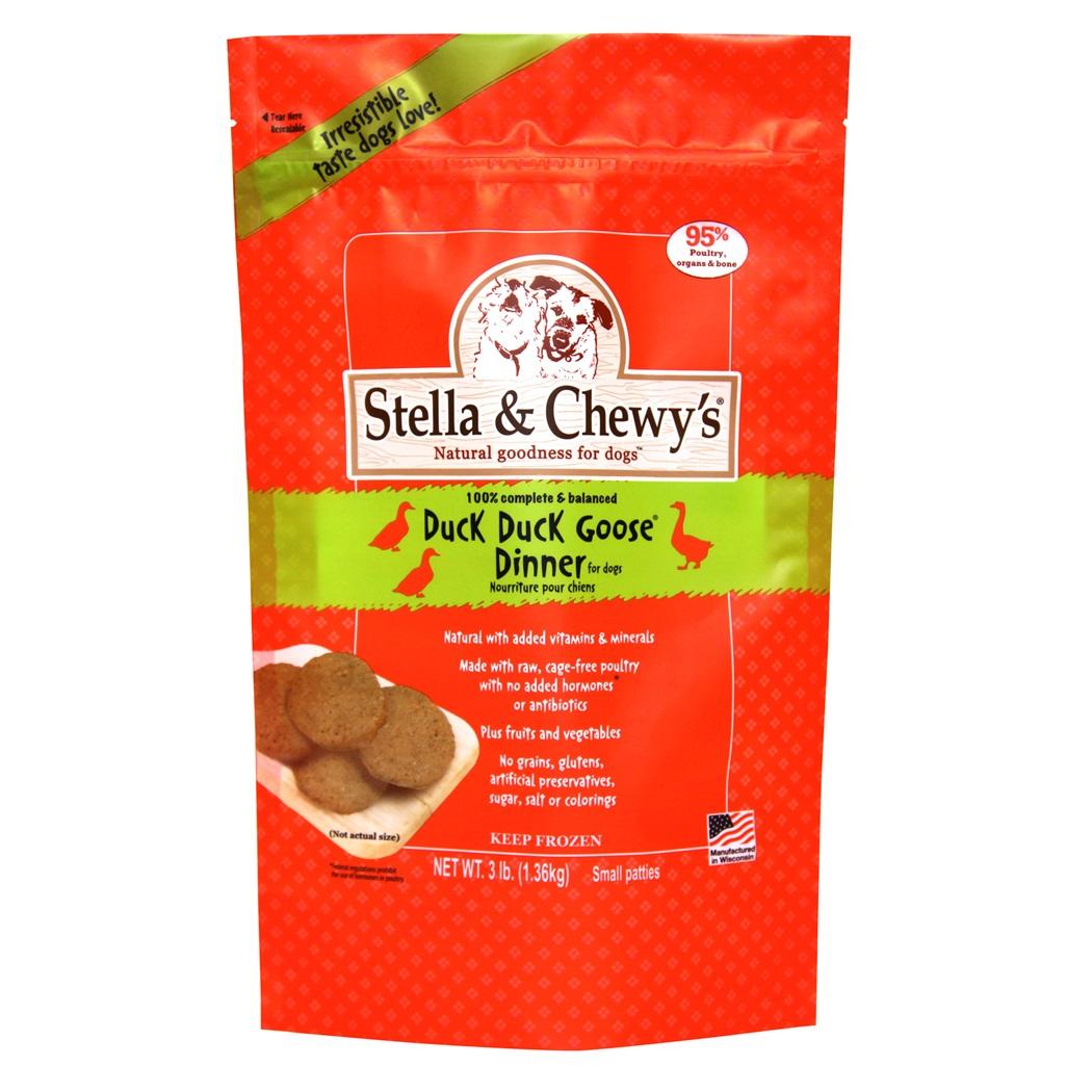 Stella & Chewy's Duck Duck Goose 1.5z Dinner Patties Grain-Free Raw Frozen Dog Food 3lbs