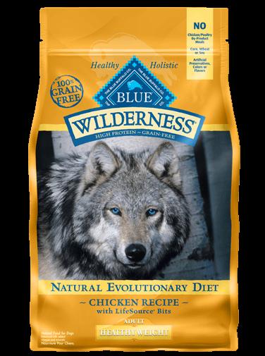 Blue Buffalo Wilderness Healthy Weight Chicken Recipe Grain-Free Dry Dog Food 4.5lbs