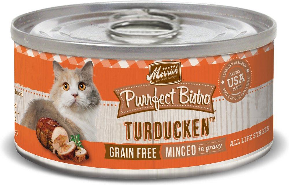 Merrick Purrfect Bistro Grain-Free Turducken Minced in Gravy Canned Cat Food 3z, 24