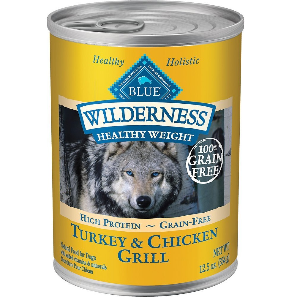 Blue Buffalo Wilderness Healthy Weight Turkey & Chicken Grill Grain-Free Adult Canned Dog Food 12.5z, 12