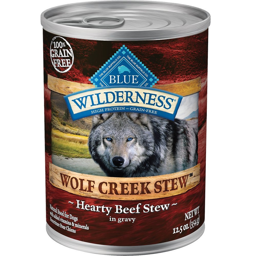 Blue Buffalo Wilderness Wolf Creek Stew Hearty Beef Stew Grain-Free Adult Canned Dog Food 12.5z, 12