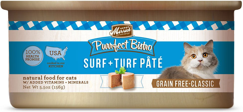 Merrick Purrfect Bistro Grain-Free Surf & Turf Pate Canned Cat Food 5.5z, 24
