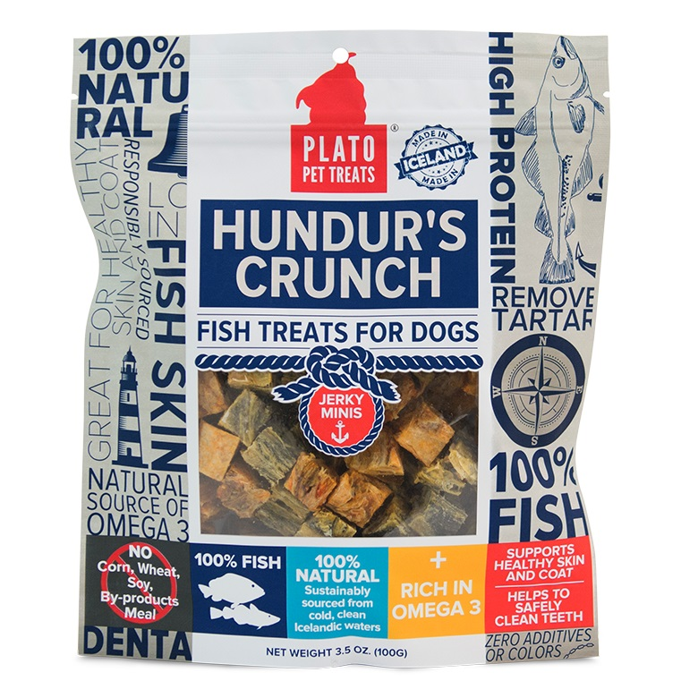 Plato Hundur's Crunch Fish Jerky Minis Dog Treats 3.5z
