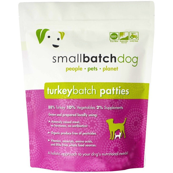 Small Batch 8z Turkey Patties Raw Frozen Dog Food 6lbs