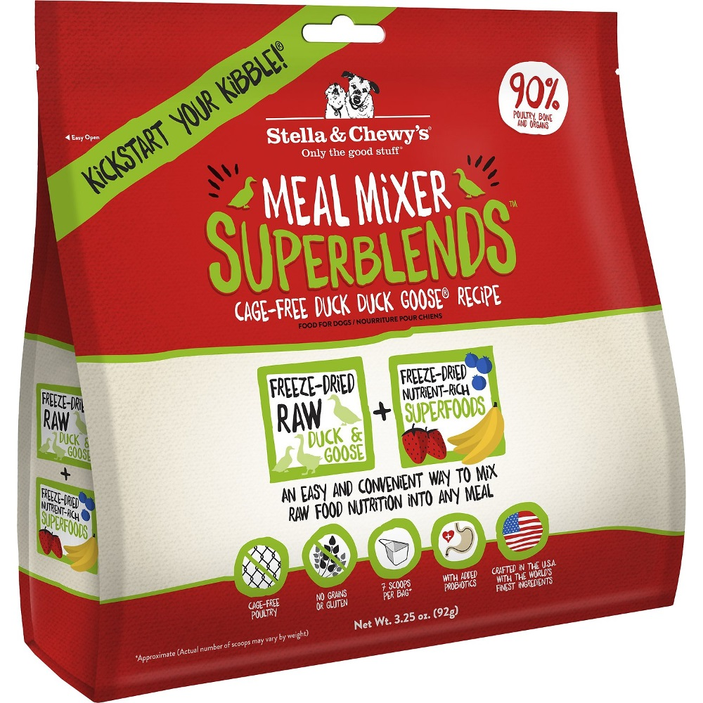 Stella & Chewy's SuperBlends Duck Duck Goose Meal Mixers Grain-Free Raw Freeze-Dried Dog Food 3.25z