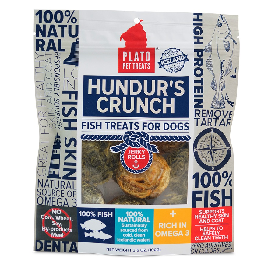 Plato Hundur's Crunch Fish Jerky Rolls Dog Treats 3.5z