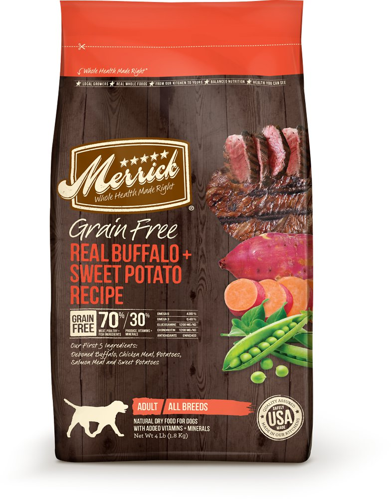 Merrick Grain-Free Real Buffalo + Sweet Potato Recipe Dry Dog Food 4lbs