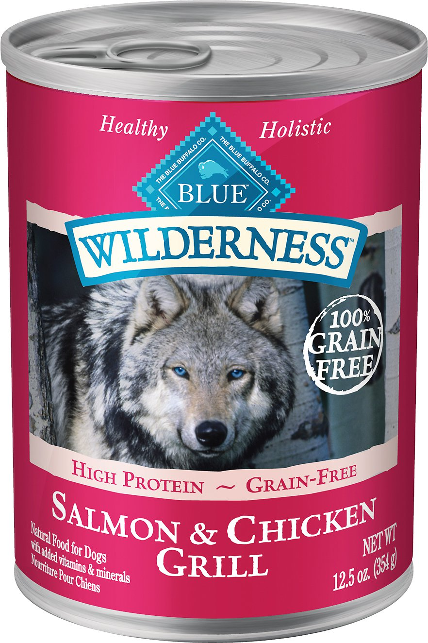 Blue Buffalo Wilderness Salmon & Chicken Grill Grain-Free Canned Dog Food 12.5z, 12