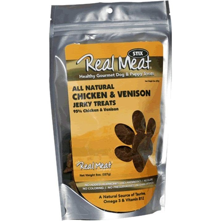 The Real Meat Chicken & Venison Jerky Stix Dog Treat 8z