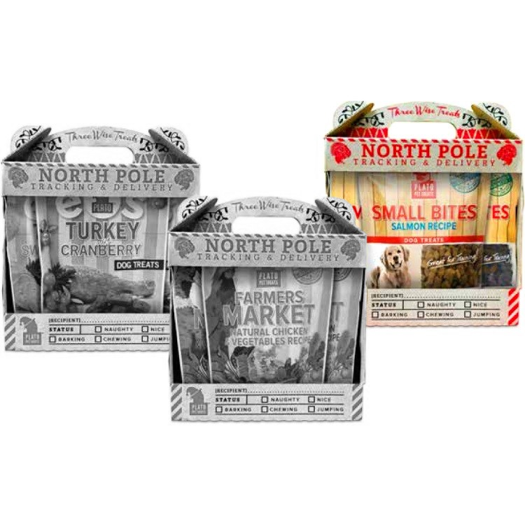Plato Holiday Gift Pack Small Bites Dog Treats 3 Pack - Organic Chicken 4z, Duck 4z & Salmon 4z