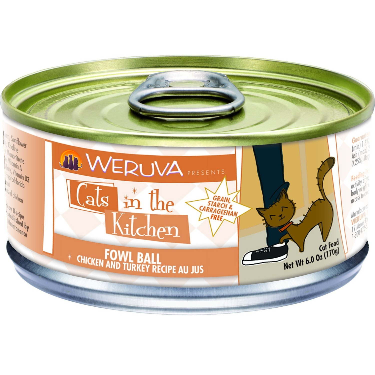 Weruva Cats in the Kitchen 'Fowl Ball' Chicken & Turkey Au Jus Canned Cat Food 6z, 24