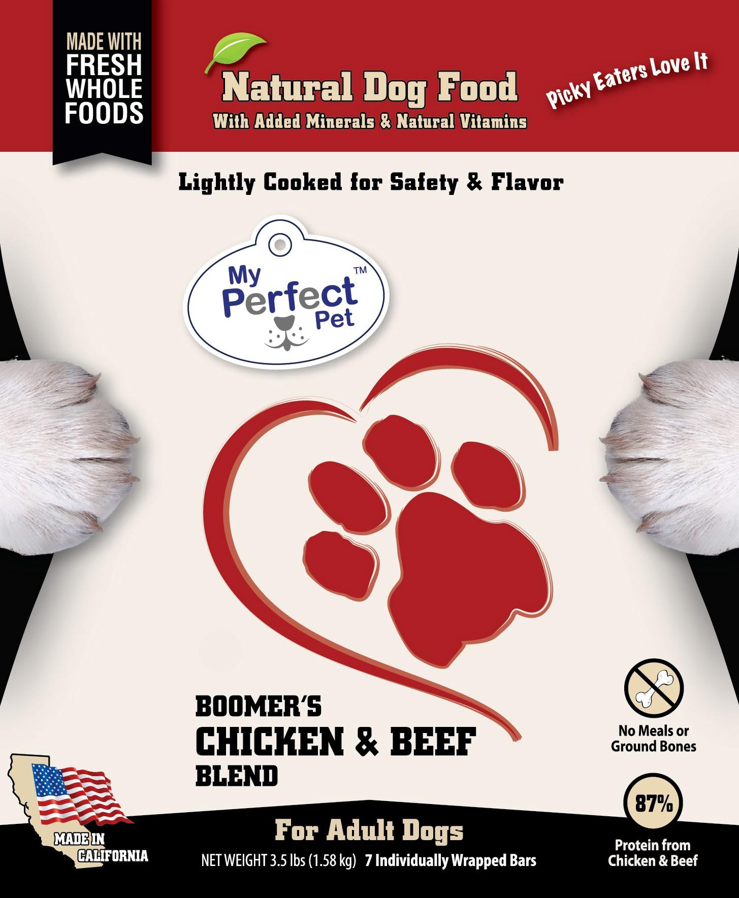 My Perfect Pet Boomer's Blend Chicken & Beef Frozen Dog Food 3.5lbs