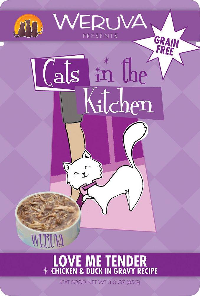 Weruva Cats in the Kitchen 'Love Me Tender' Chicken & Duck in Gravy Cat Food Pouches 3z, 8