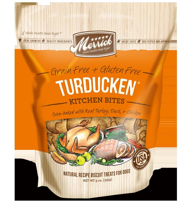 Merrick Kitchen Bites Turducken Grain-Free Biscuits Dog Treats 9z