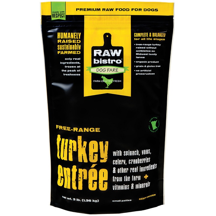 Raw Bistro Free-Range Turkey Entree Grain-Free Raw Frozen Dog Food 3lbs