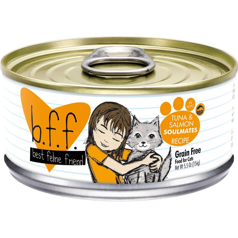 Weruva BFF Grain-Free Tuna & Salmon Soulmates Recipe in Aspic Canned Cat Food 5.5z, 24