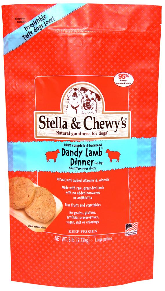 Stella & Chewy's Dandy Lamb 8z Dinner Patties Grain-Free Raw Frozen Dog Food 6lbs