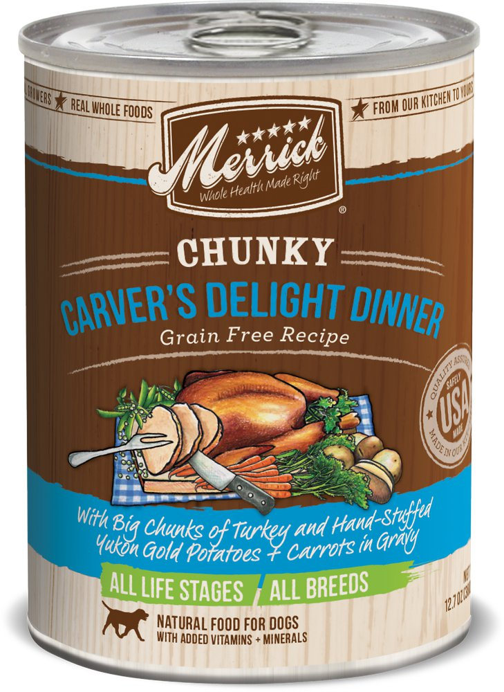 Merrick Chunky Grain-Free Carver's Delight Dinner Canned Dog Food 12.7z, 12