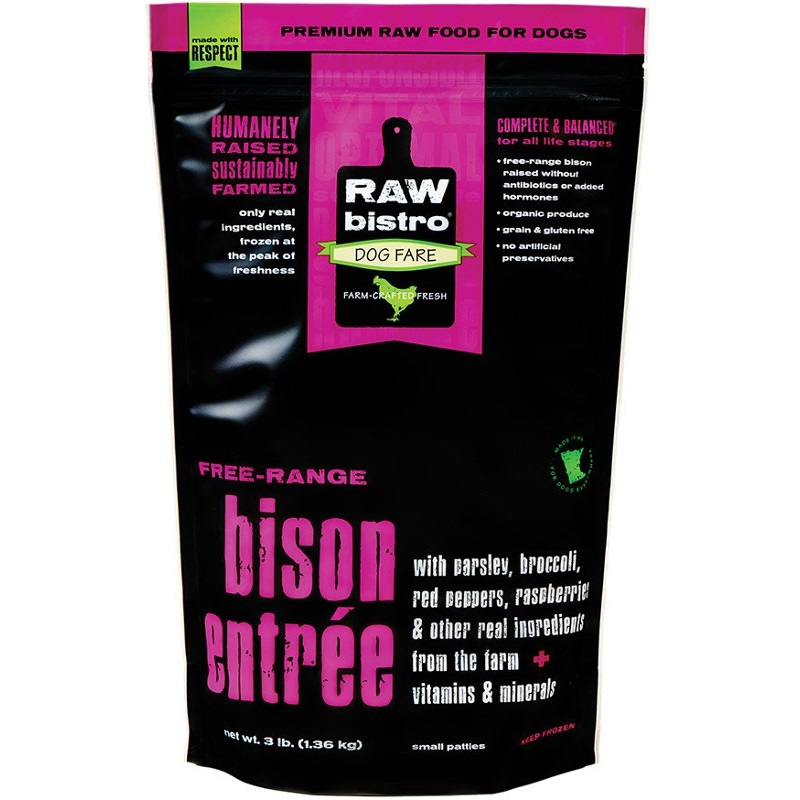 Raw Bistro Free-Range Bison Entree Grain-Free Raw Frozen Dog Food 3lbs