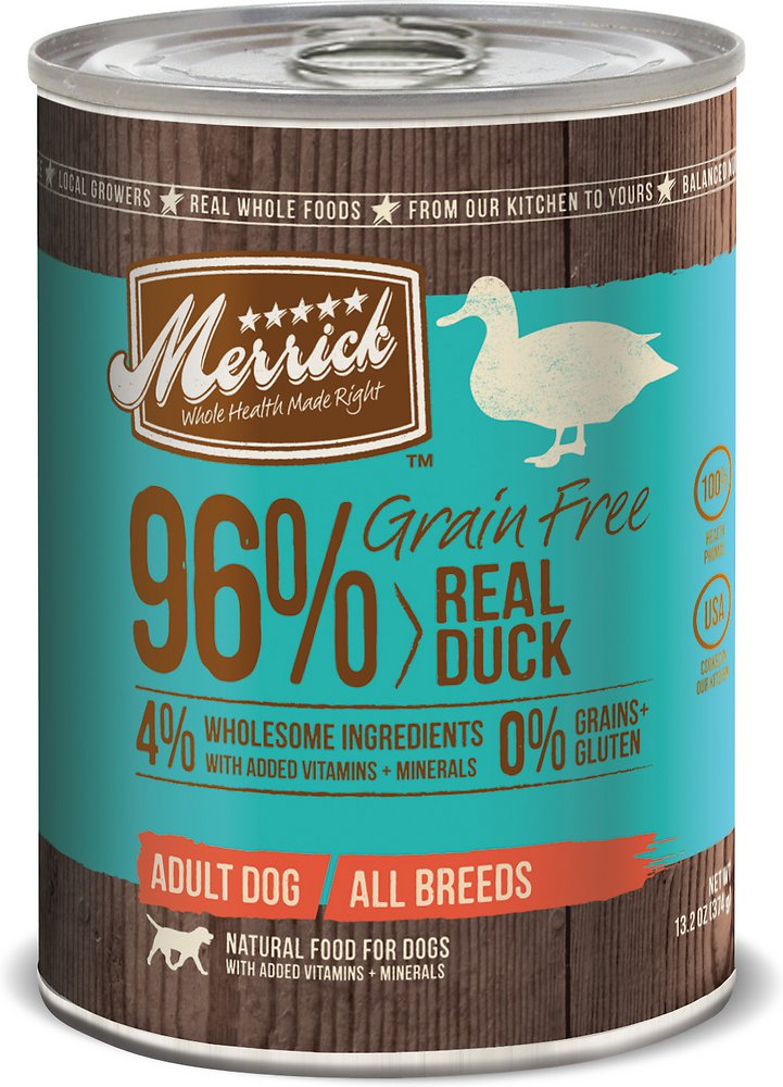 Merrick Grain-Free 96% Real Duck Canned Dog Food 13.2z, 12