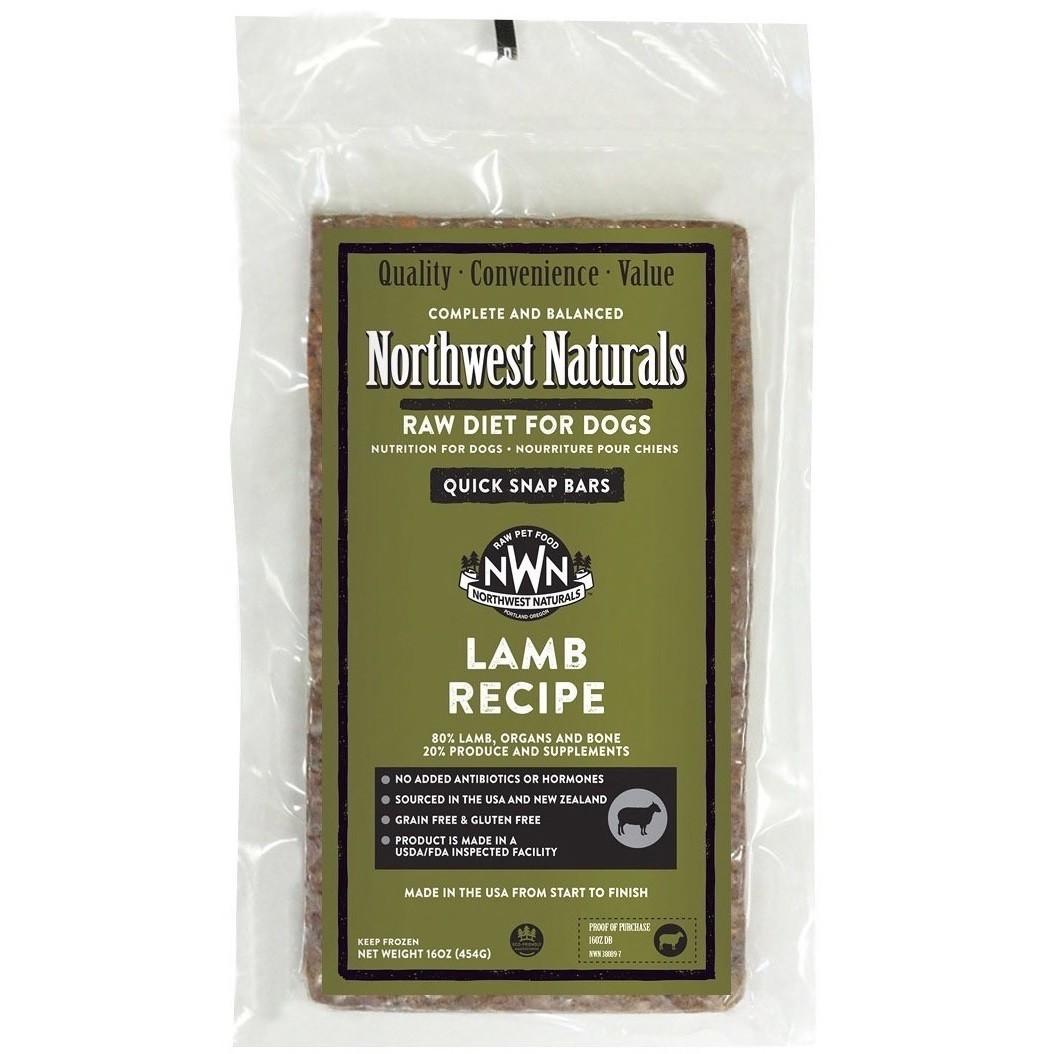 Northwest Naturals Raw Diet Grain-Free Lamb Dinner Bar Raw Frozen Dog Food - BULK 25lbs