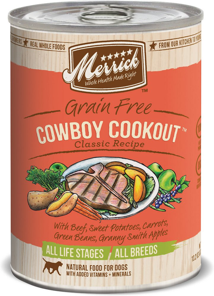 Merrick Classic Grain-Free Cowboy Cookout Recipe Canned Dog Food 13.2z, 12
