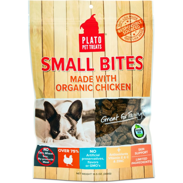 Plato Small Bites Organic Chicken Dog Treats 10.5z