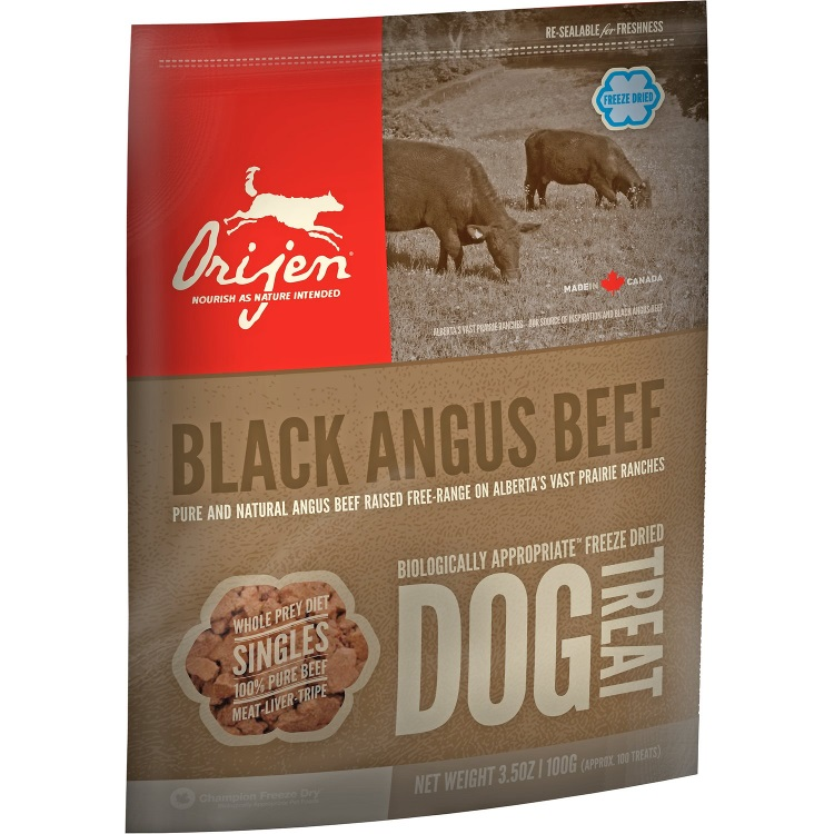 Orijen Black Angus Beef Singles Freeze Dried Grain-Free Dog Treats 3.5z