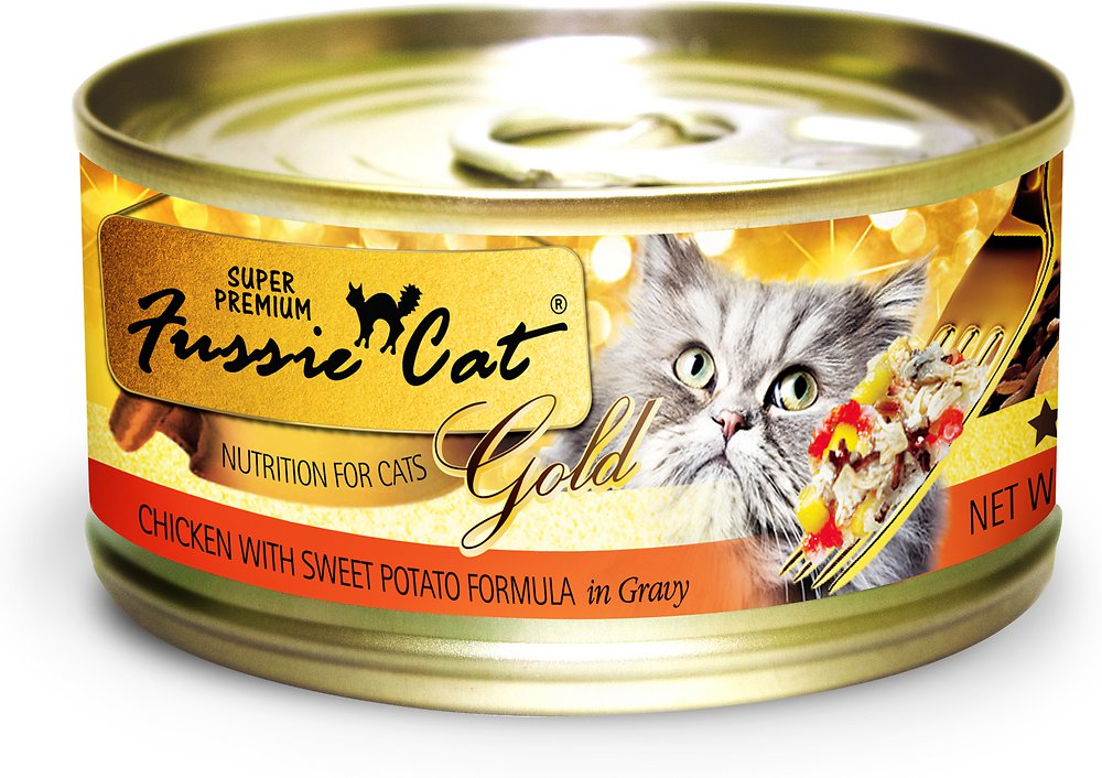 Fussie Cat Premium Chicken with Sweet Potato Formula in Gravy Canned Cat Food 2.8z, 24