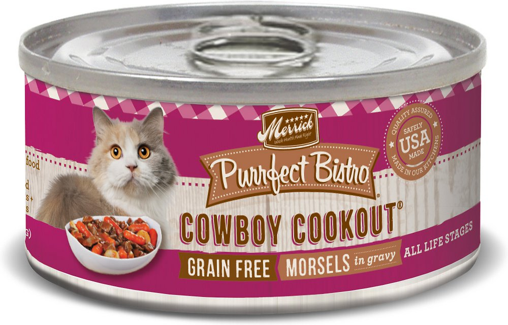 Merrick Purrfect Bistro Grain-Free Cowboy Cookout Morsels in Gravy Canned Cat Food 3z, 24
