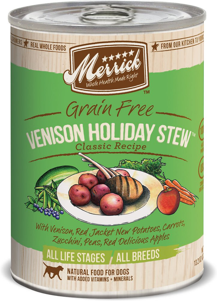 Merrick Classic Grain-Free Venison Holiday Stew Recipe Canned Dog Food 13.2z, 12