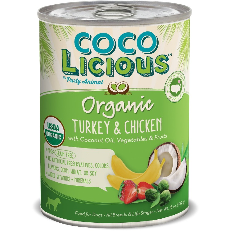 Party Animal Cocolicious Organic Turkey & Chicken Recipe Grain-Free Canned Dog Food 13z, 12