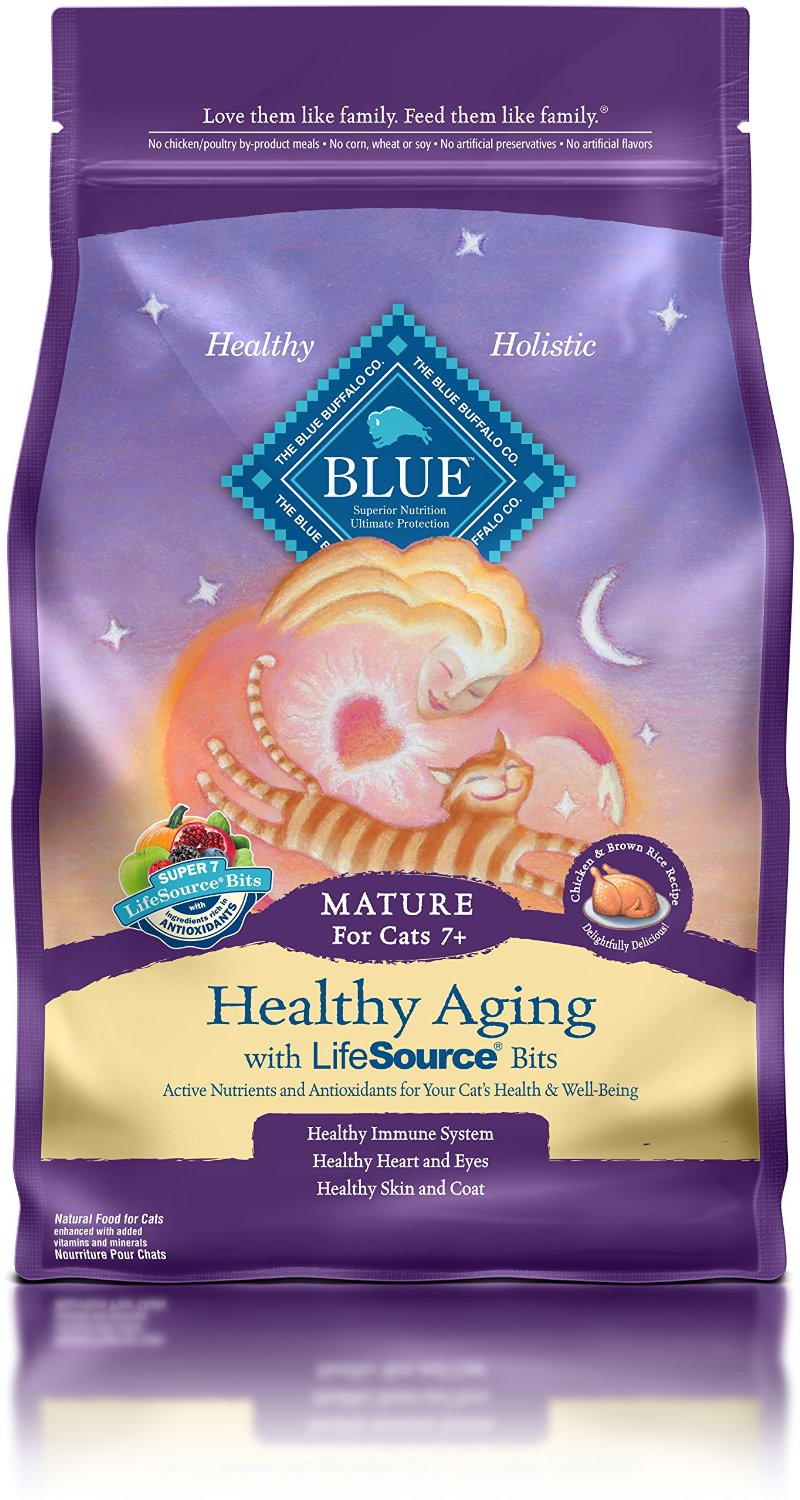 Blue Buffalo Healthy Aging Chicken & Brown Rice Recipe Mature Dry Cat Food 7lbs
