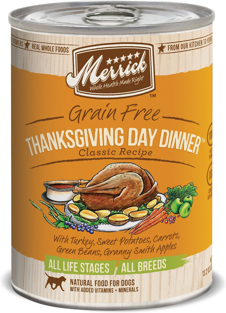 Merrick Classic Grain-Free Thanksgiving Day Dinner Recipe Canned Dog Food 13.2z, 12