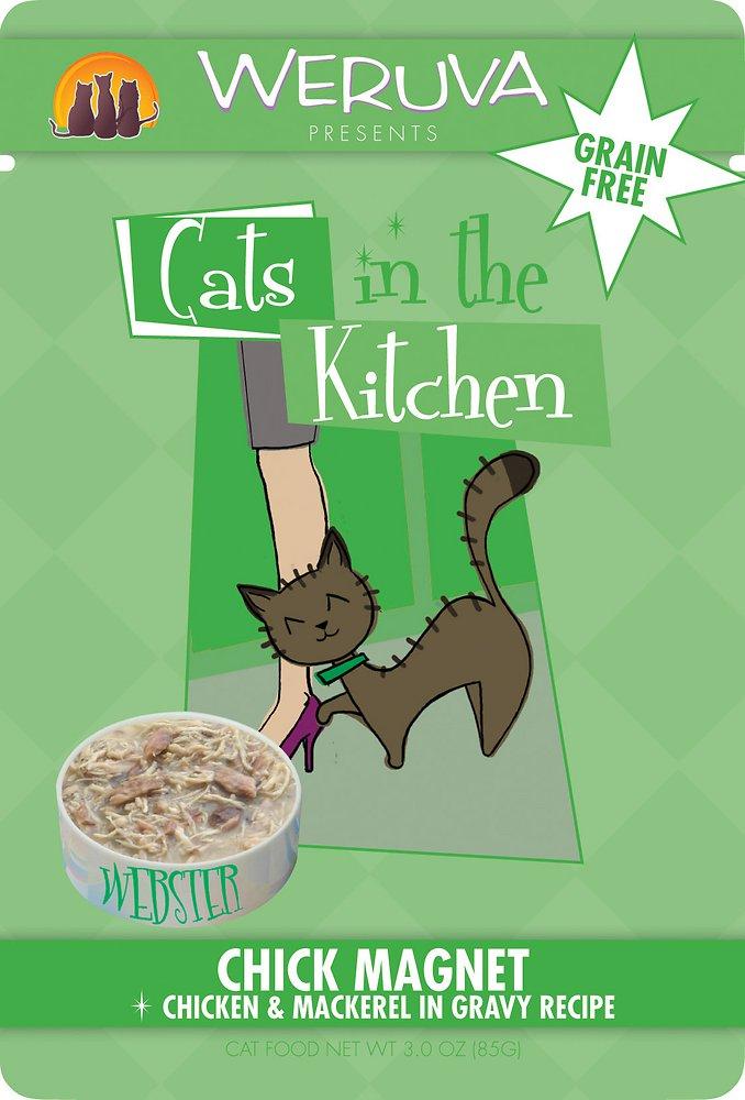Weruva Cats in the Kitchen 'Chick Magnet' Chicken & Mackerel in Gravy Cat Food Pouches 3z, 8
