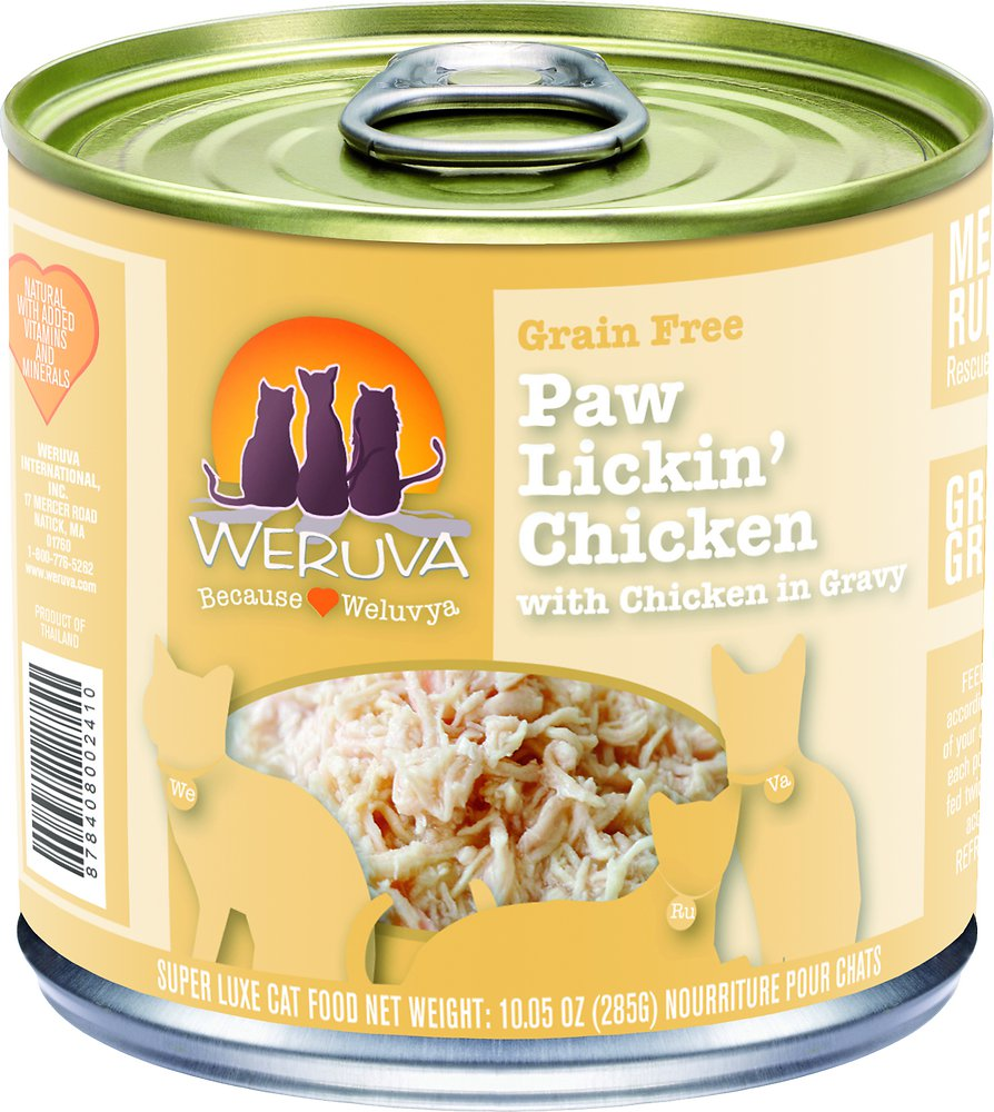 Weruva Grain-Free Paw Lickin' Chicken in Gravy Canned Cat Food 10z, 12