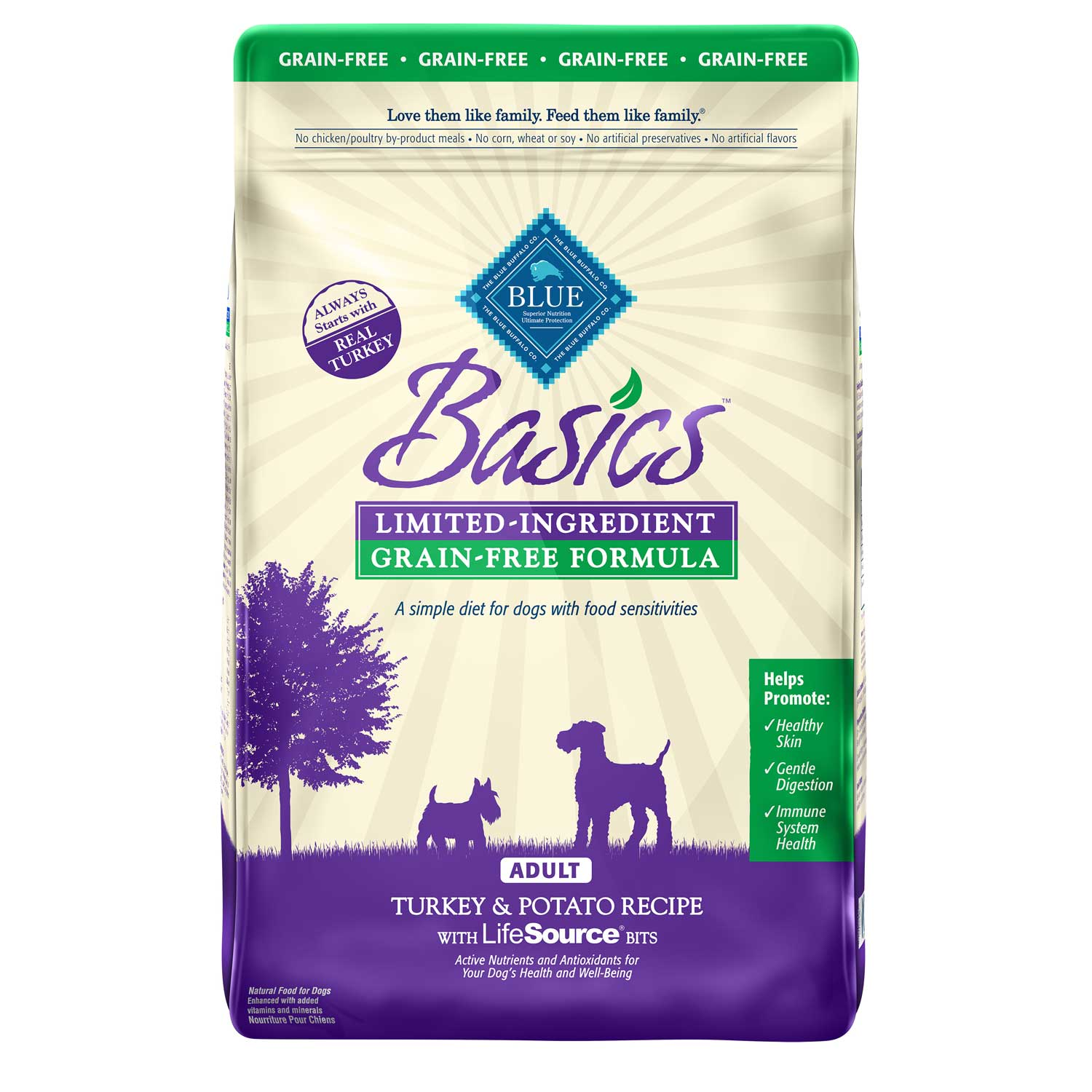 Blue Buffalo Basics Limited Ingredient Grain-Free Formula Turkey & Potato Recipe Adult Dry Dog Food 24lbs