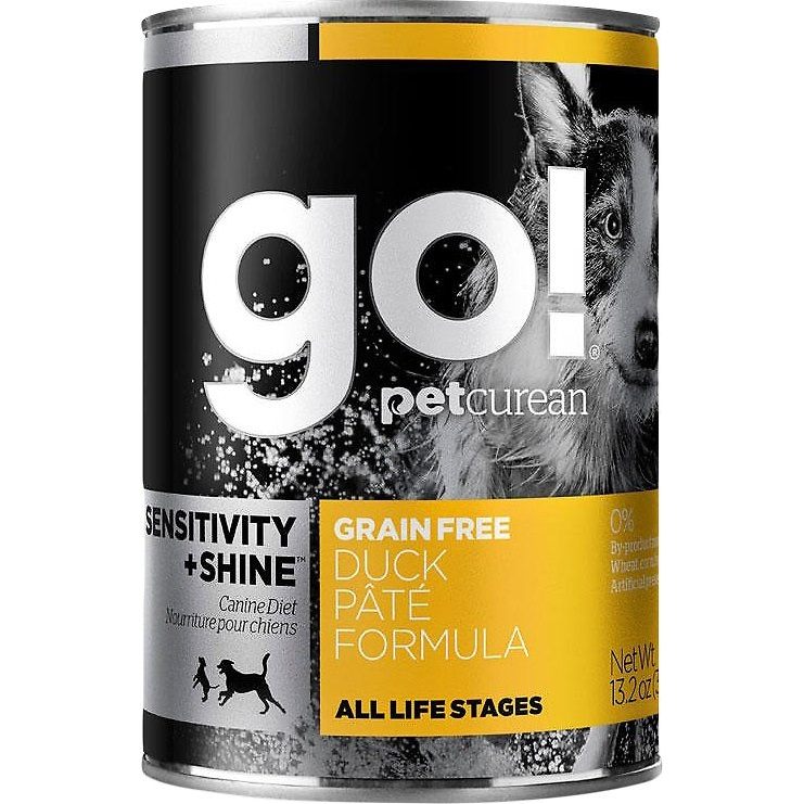 Petcurean Go! Sensitivity + Shine Grain-Free Duck Pate Formula Canned Dog Food 13.2z, 12
