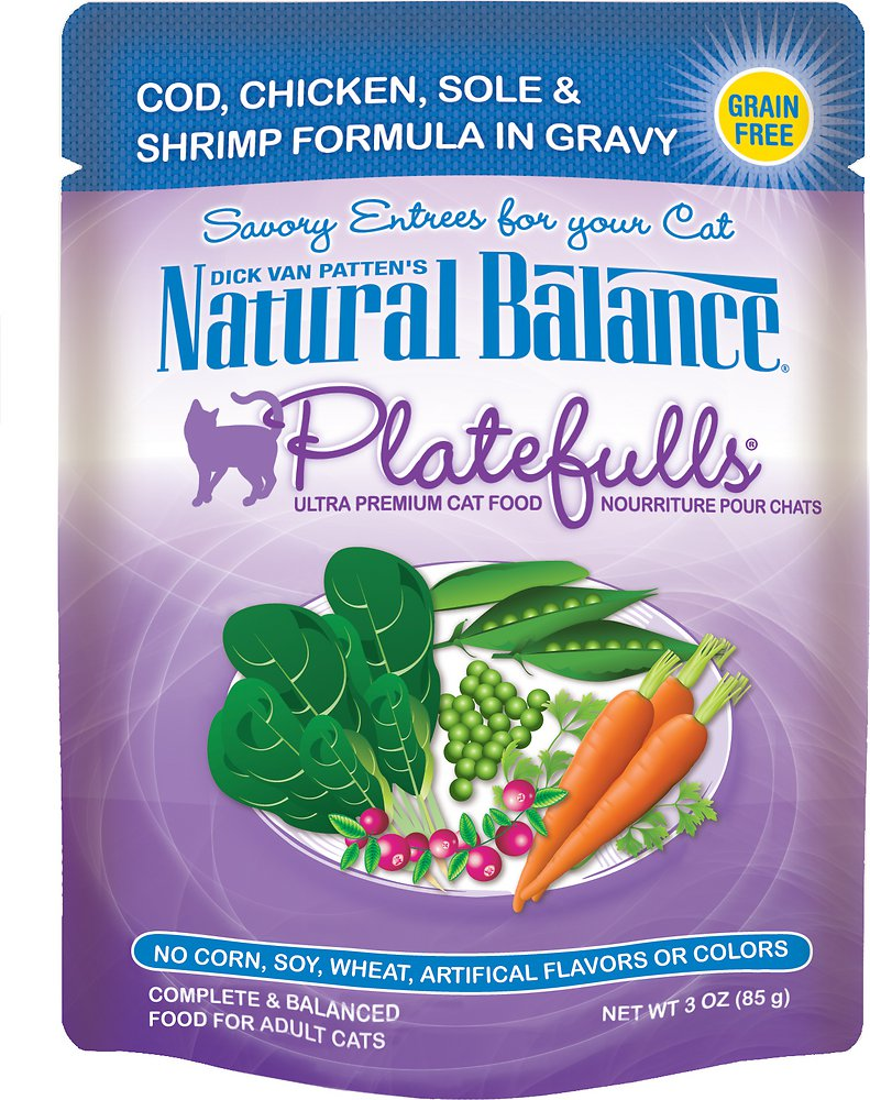 Natural Balance Platefulls Cod, Chicken, Sole & Shrimp Formula in Gravy Grain-Free Cat Food Pouches 3z, 24