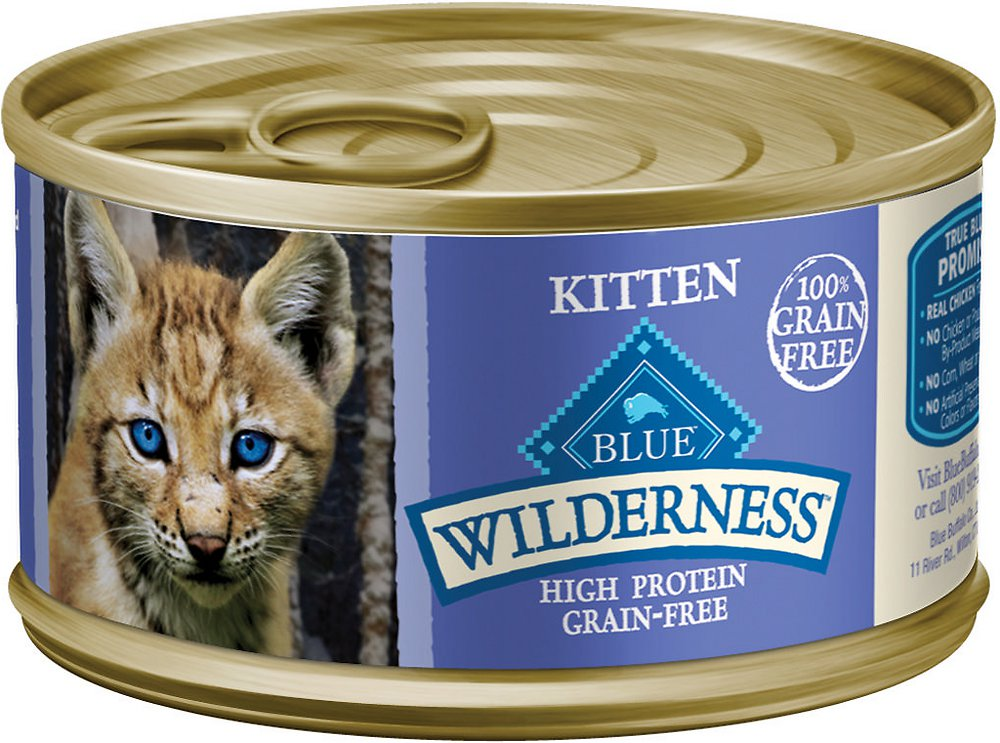 Blue Buffalo Wilderness Kitten Chicken Grain-Free Canned Cat Food 3z, 24