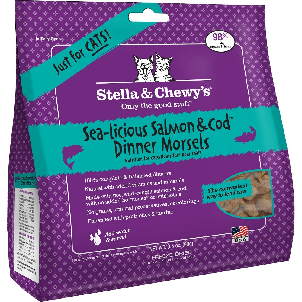 Stella & Chewy's Sea-licious Salmon & Cod Dinner Raw Freeze Dried Cat Food 3.5z