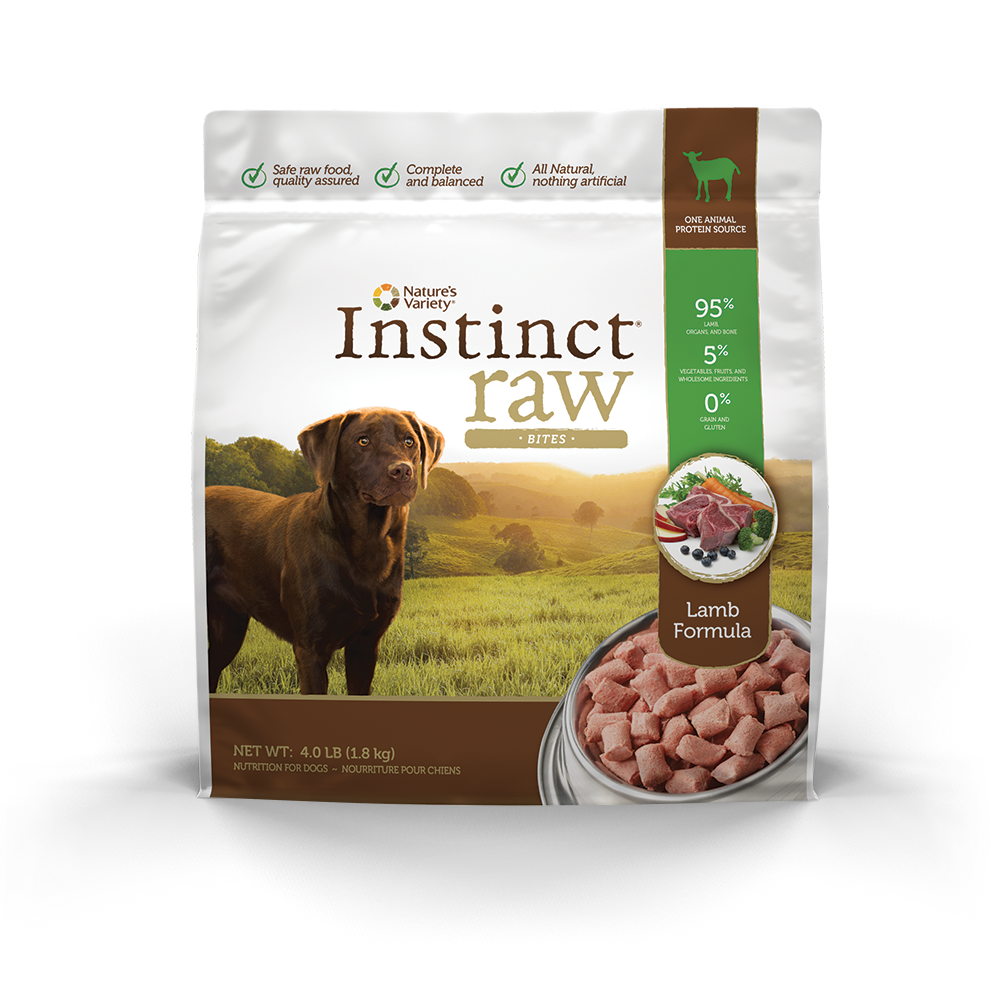 Nature's Variety Instinct Raw Grain-Free Lamb Bites Raw Frozen Dog Food 4lbs