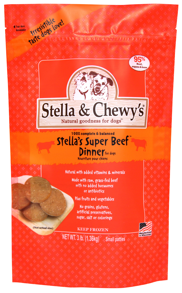 Stella & Chewy's Stella's Super Beef 1.5z Dinner Patties Grain-Free Raw Frozen Dog Food 3lbs