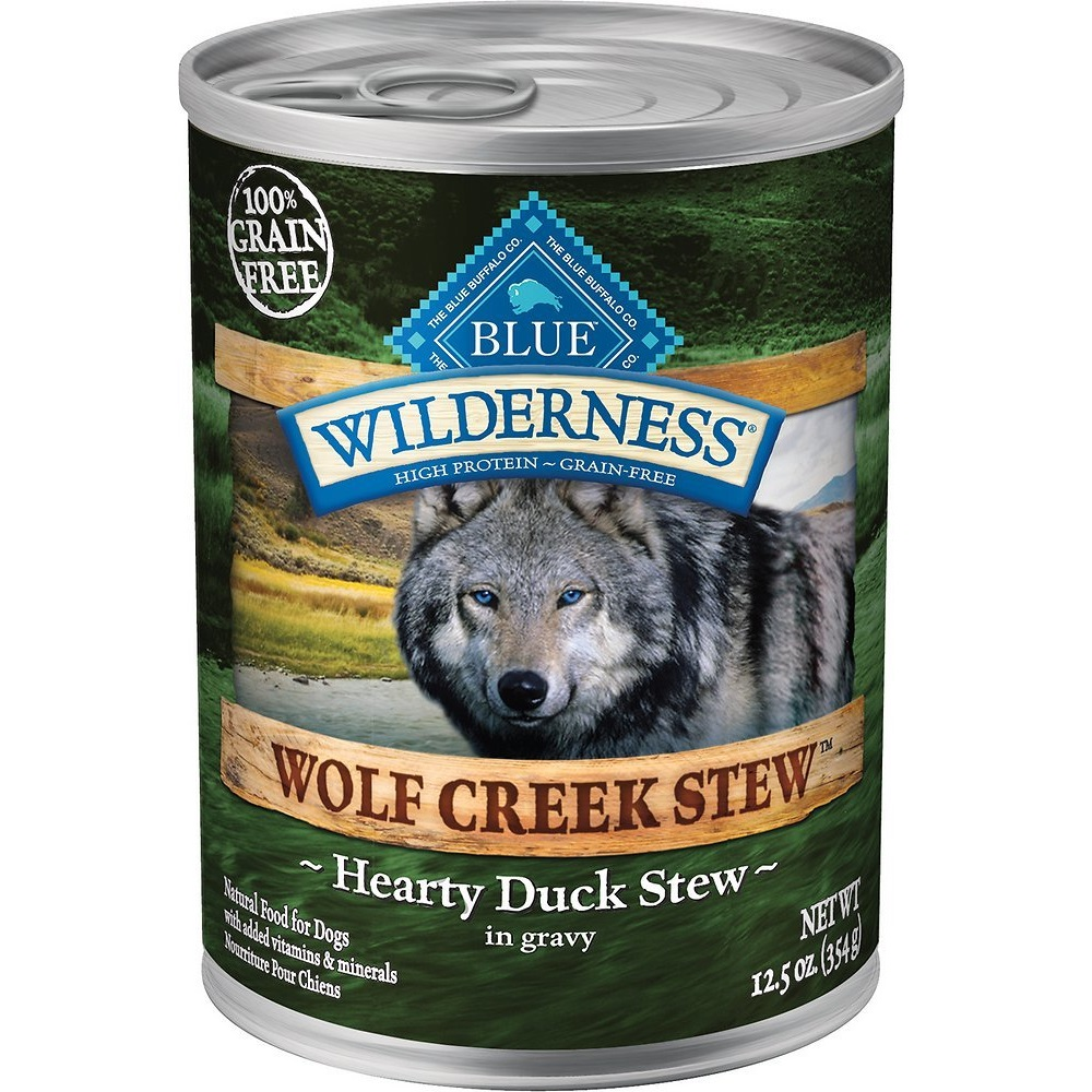Blue Buffalo Wilderness Wolf Creek Stew Hearty Duck Stew Grain-Free Adult Canned Dog Food 12.5z, 12