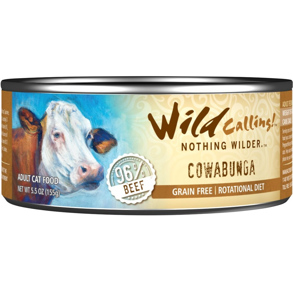 Wild Calling Cowabunga 96% Beef Grain-Free Canned Cat Food 5.5z, 24